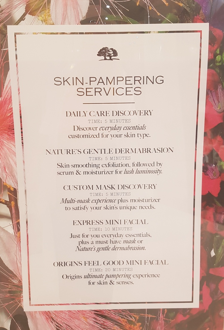 Origins Skin Pampering Services